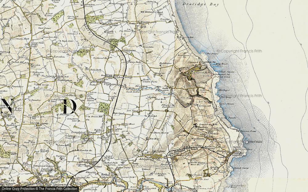 Old Map of Historic Map covering Linton Burn in 1901-1903