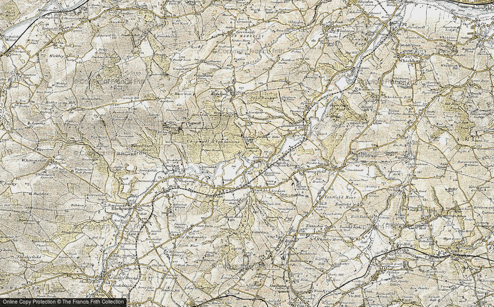 Old Map of Historic Map covering Lintzford Wood in 1901-1904