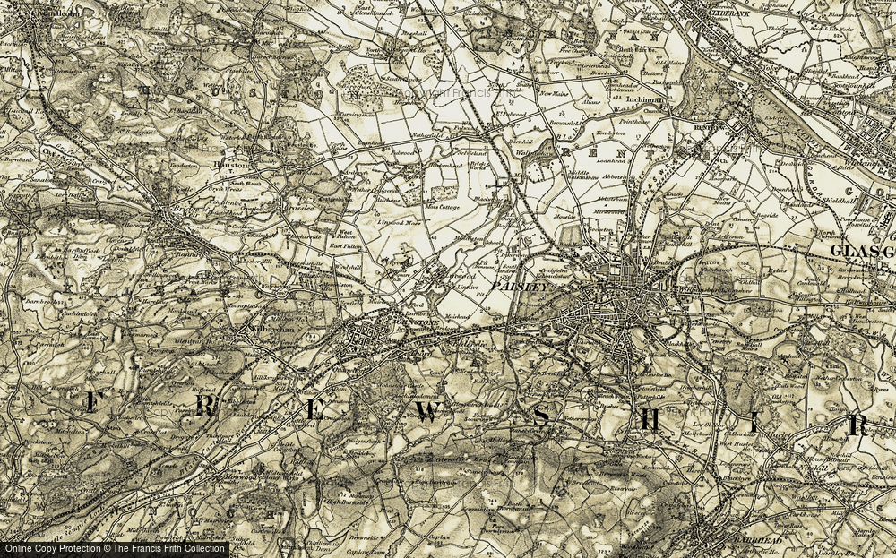 Old Map of Historic Map covering Linwood Moss in 1905-1906