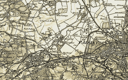 Old map of Linwood Moss in 1905-1906