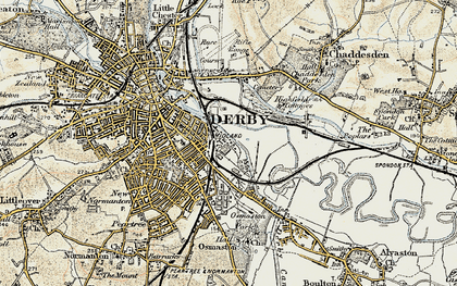 Old map of Litchurch in 1902-1903