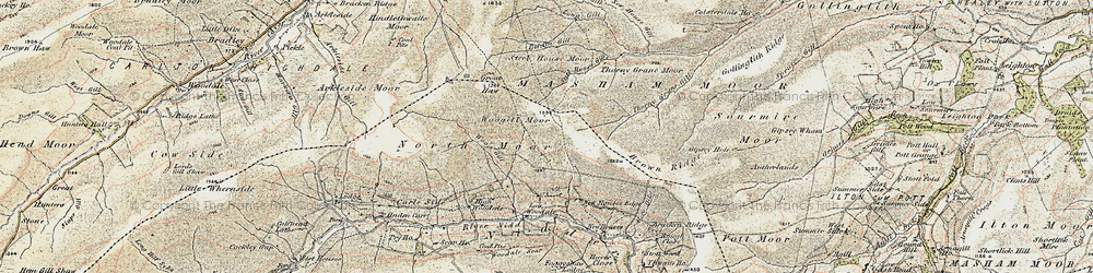 Old map of Woodale Scar in 1903-1904