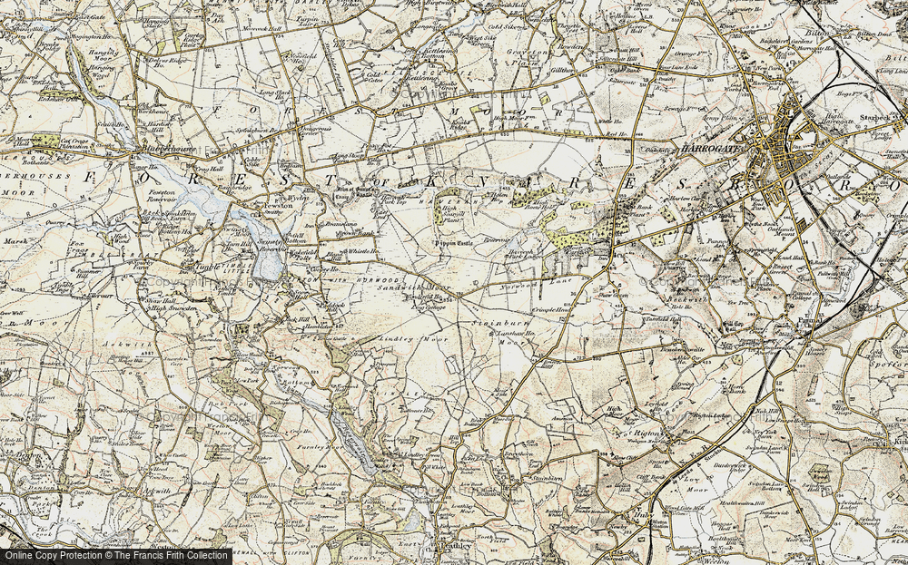 Old Map of Historic Map covering Lindley Moor in 1903-1904