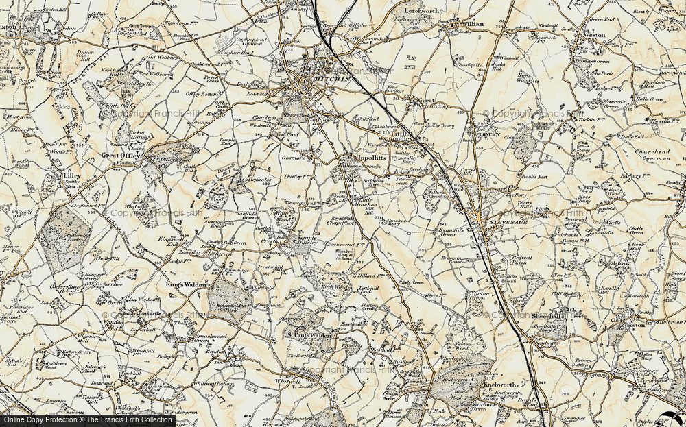 Old Map of Historic Map covering Almshoe Bury in 1898-1899