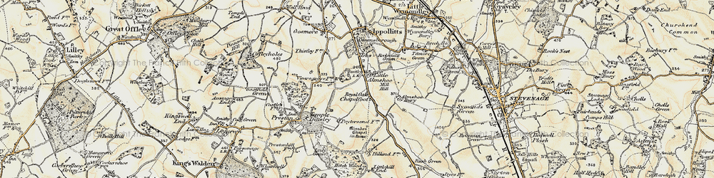Old map of Almshoe Bury in 1898-1899