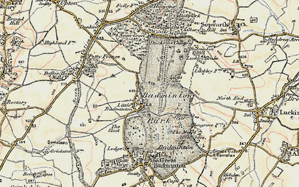 Old map of Badminton Down in 1898-1899