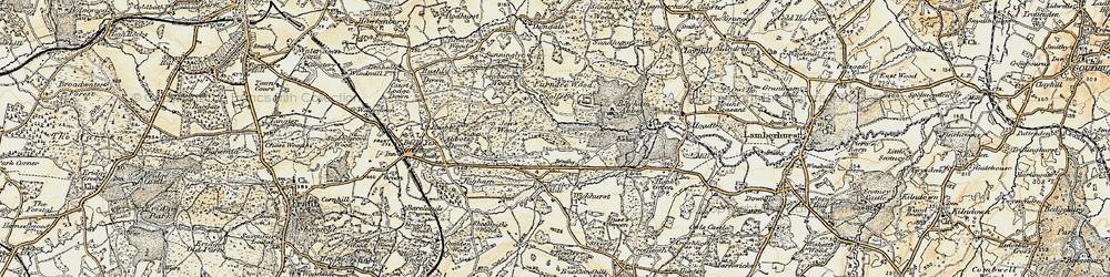 Old map of Bayham Abbey in 1897-1898
