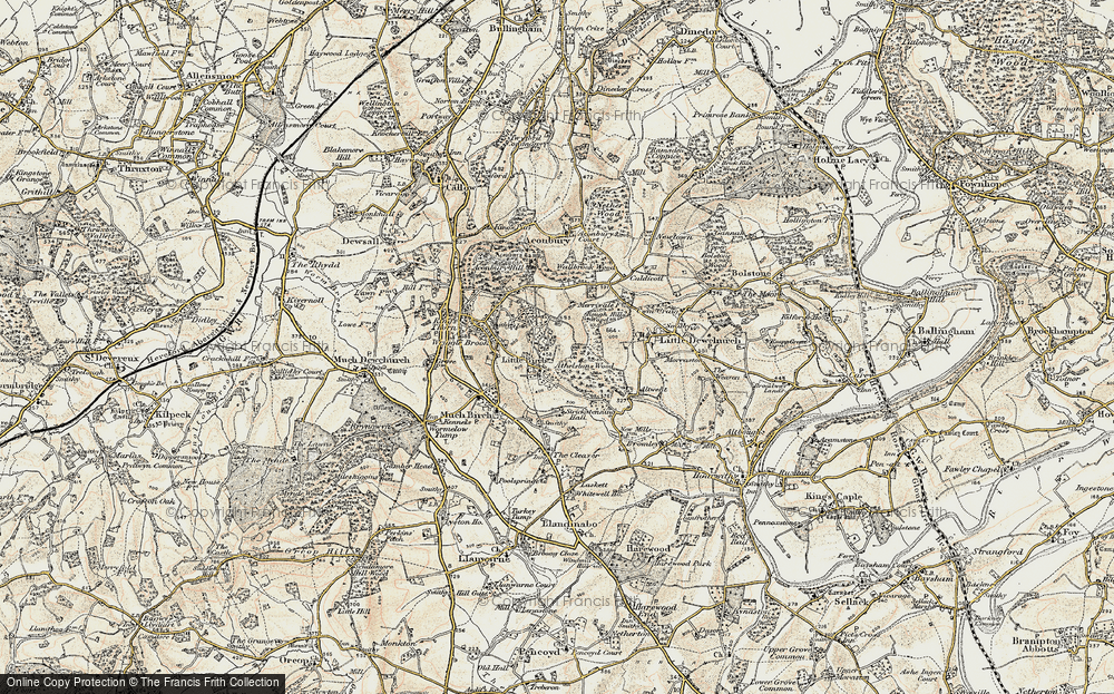 Old Map of Historic Map covering Athelstans Wood in 1899-1900