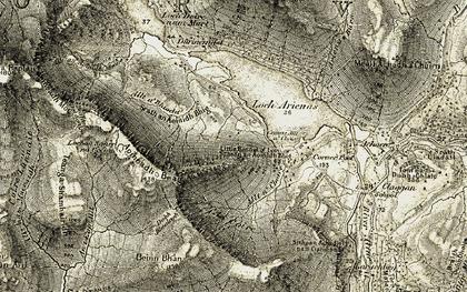 Old map of Allt a' Bhioda in 1906-1908