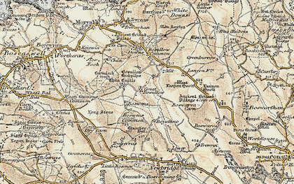 Old map of Little Bosullow in 1900