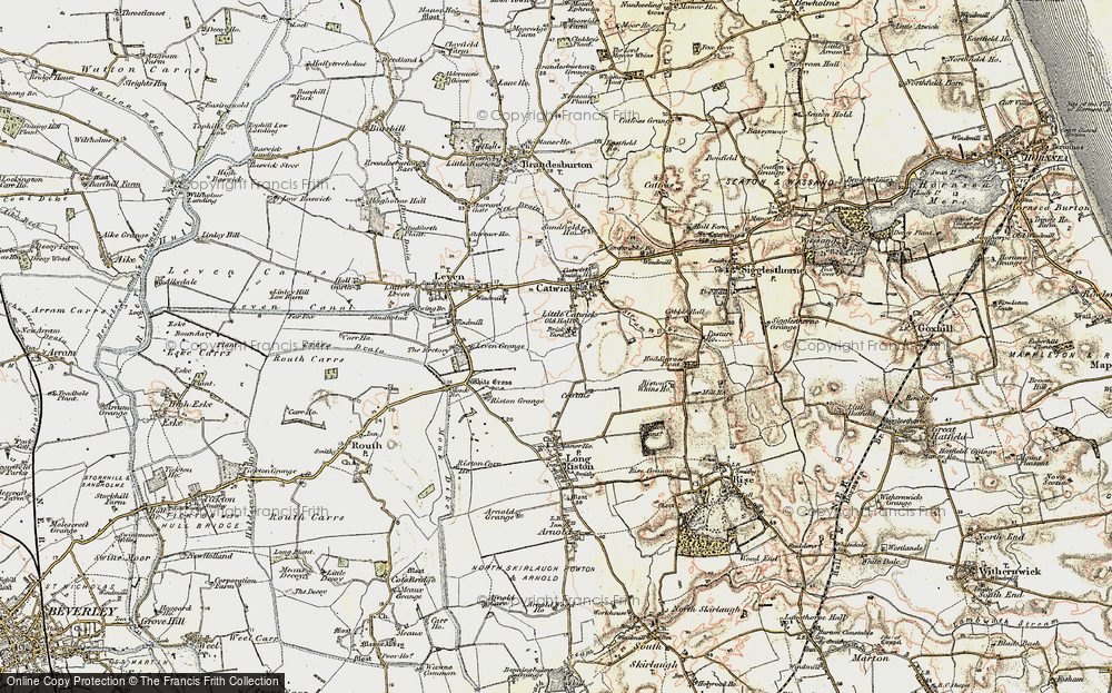 Old Map of Historic Map covering Riston Grange in 1903-1908