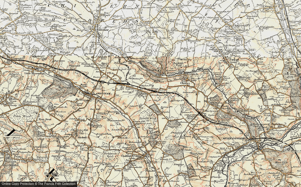 Old Map of Historic Map covering Lane Wood in 1897-1898