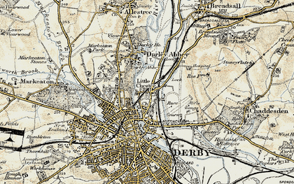 Old map of Little Chester in 1902-1903