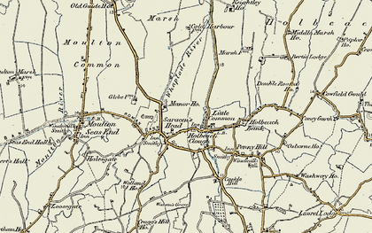 Old map of Whaplode River in 1901-1902