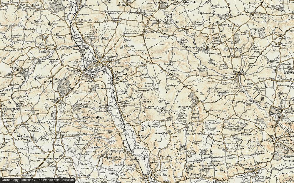 Old Map of Little Cornard, 1898-1901 in 1898-1901