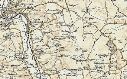 Old map of Little Cornard in 1898-1901