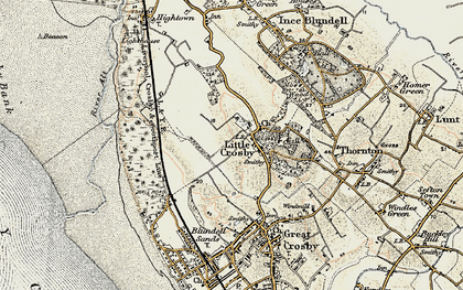 Old map of Little Crosby in 1902-1903