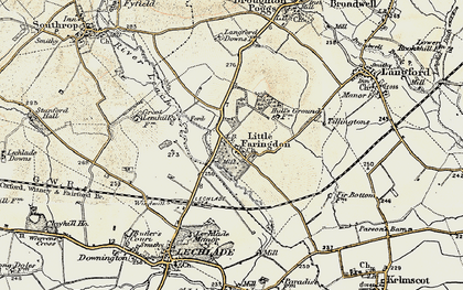Old map of Langford Brook in 1898-1899