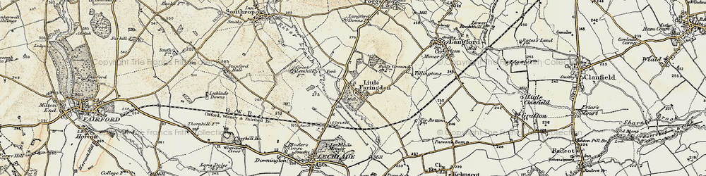 Old map of Langford Ho in 1898-1899