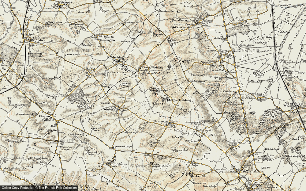 Old Map of Historic Map covering Alconbury Brook in 1901
