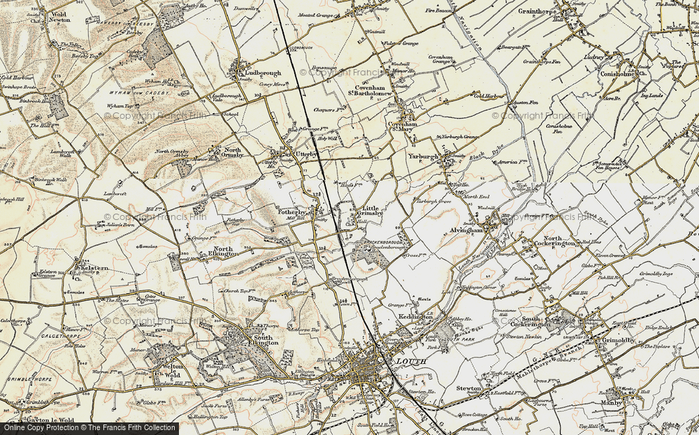 Old Map of Historic Map covering Brackenborough Lawn in 1903