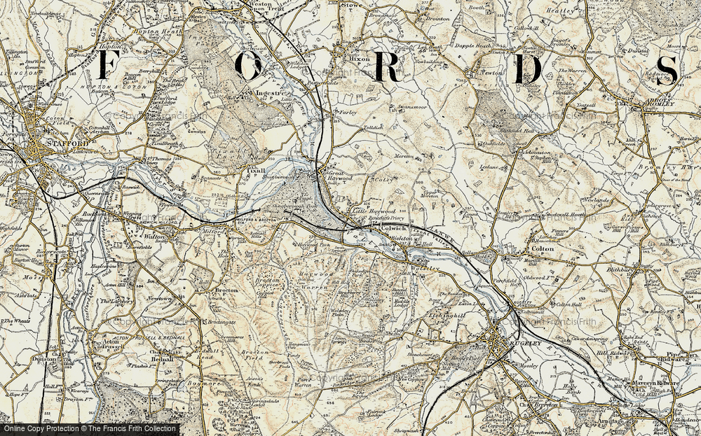 Old Map of Historic Map covering Abraham's Valley in 1902