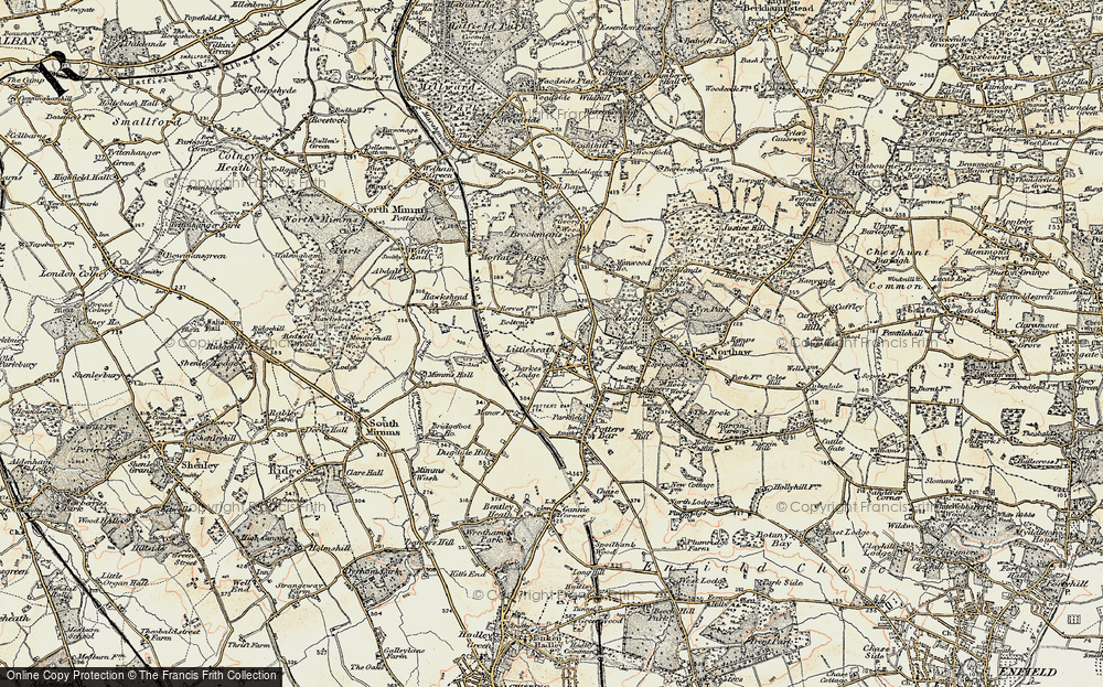Old Map of Historic Map covering Leggatts Park in 1897-1898