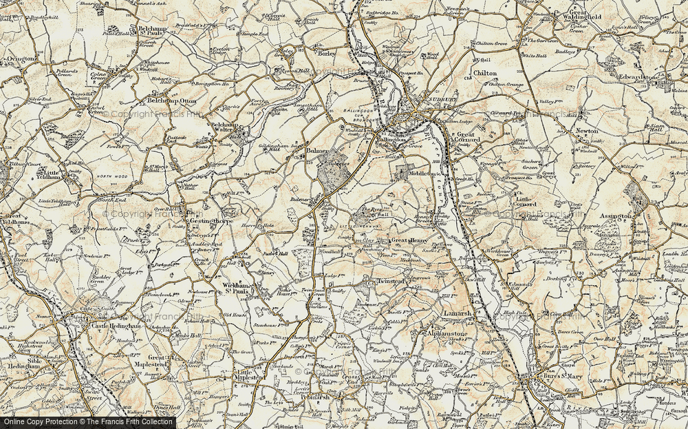 Old Map of Historic Map covering Auberies in 1898-1901