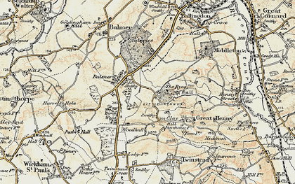 Old map of Auberies in 1898-1901