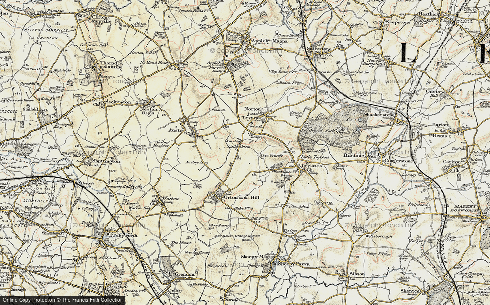 Old Map of Historic Map covering Austrey Ho in 1901-1903