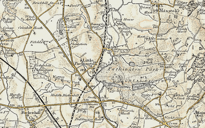 Old map of Bannerley Pool in 1901-1902