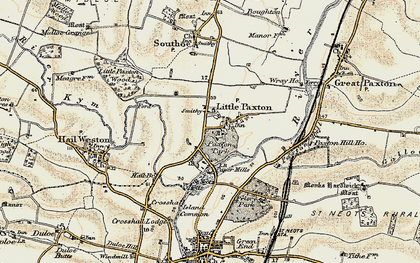 Old map of Little Paxton in 1898-1901