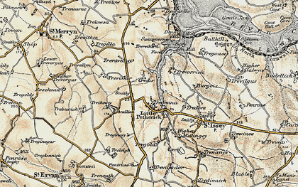 Old map of Little Petherick in 1900