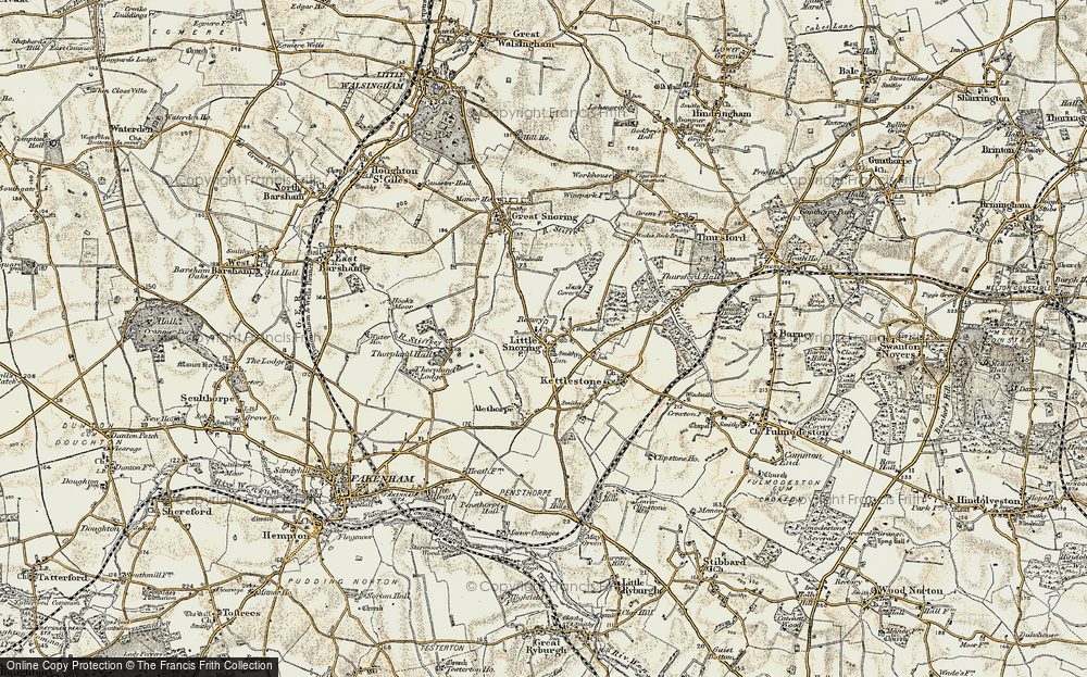 Old Map of Historic Map covering Alethorpe Hall in 1901-1902
