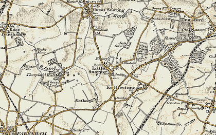 Old map of Alethorpe Hall in 1901-1902