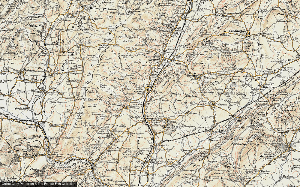 Old Map of Historic Map covering Ashes Hollow in 1902-1903