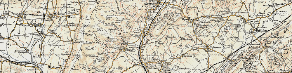 Old map of Little Stretton in 1902-1903