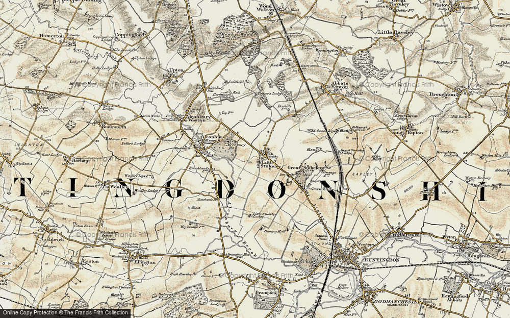 Old Map of Historic Map covering Alconbury Ho in 1901