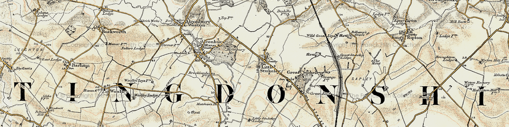Old map of Alconbury Ho in 1901