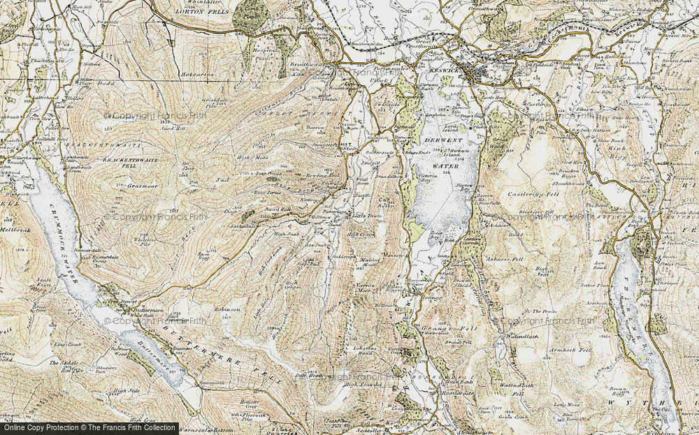 Old Map of Historic Map covering Aikin Knott in 1901-1904