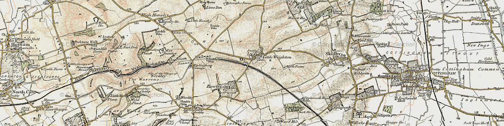 Old map of Little Weighton in 1903-1908