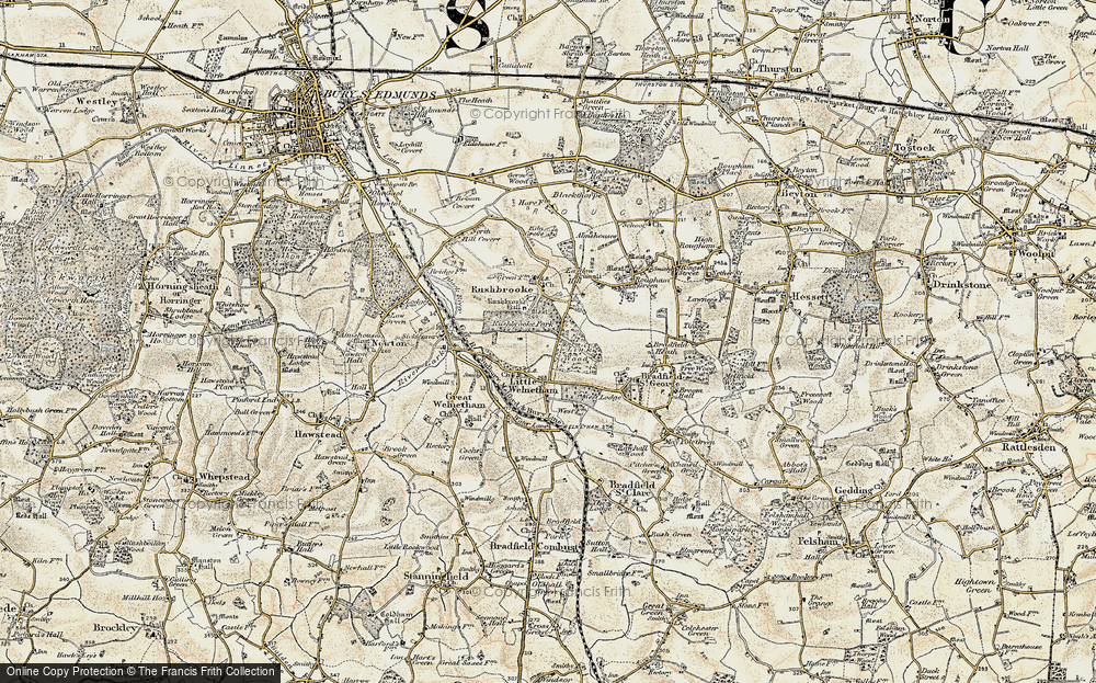 Old Map of Historic Map covering Link Wood in 1899-1901