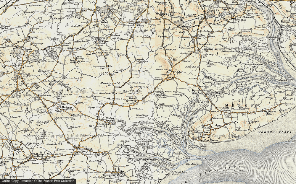 Old Map of Historic Map covering Abbot's Hall Saltings in 1898-1899
