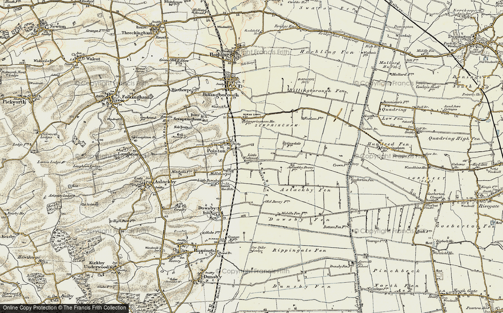 Old Map of Historic Map covering Aslackby Fen in 1902-1903