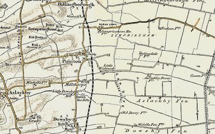Old map of Aslackby Fen in 1902-1903