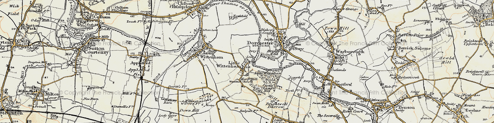 Old map of Wittenham Clumps in 1897-1898