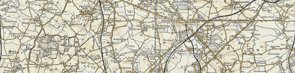 Old map of Wyrley Common in 1902