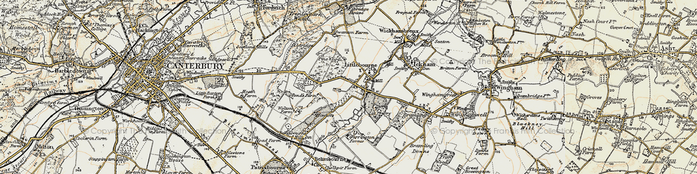 Old map of Littlebourne in 1898-1899