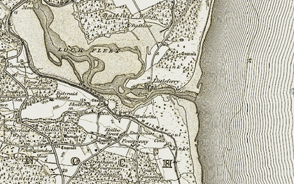Old map of Littleferry in 1910-1912