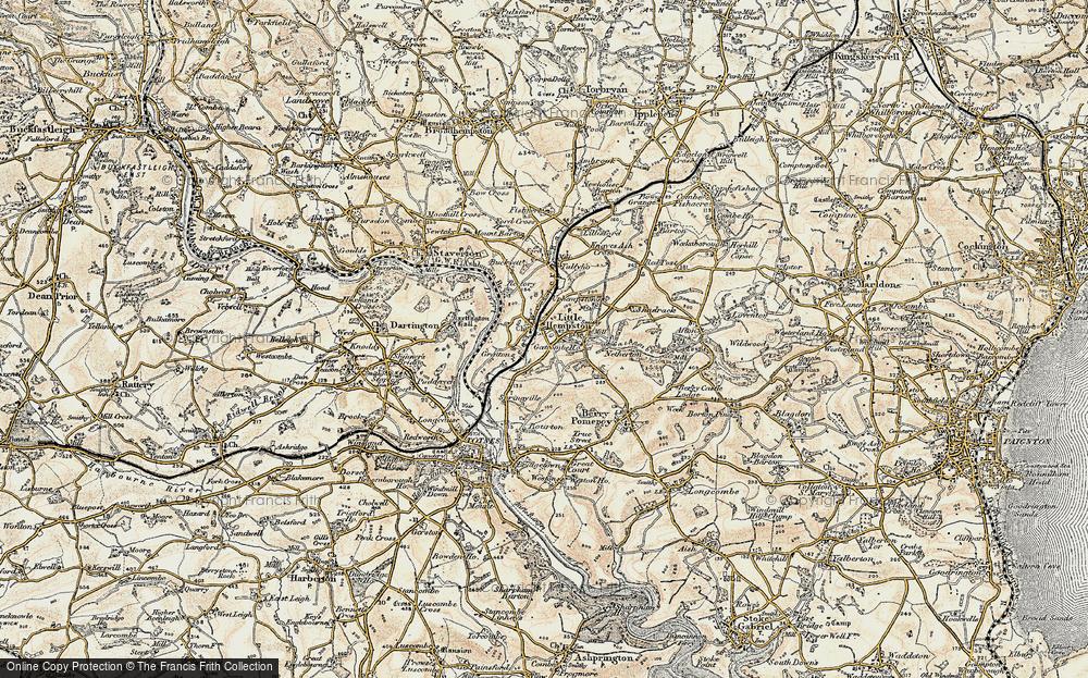 Old Map of Littlehempston, 1899 in 1899